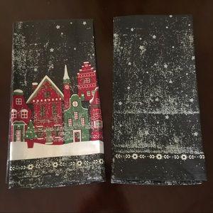 """Christmas napkins set of 2 gray red green 21x31"""""""